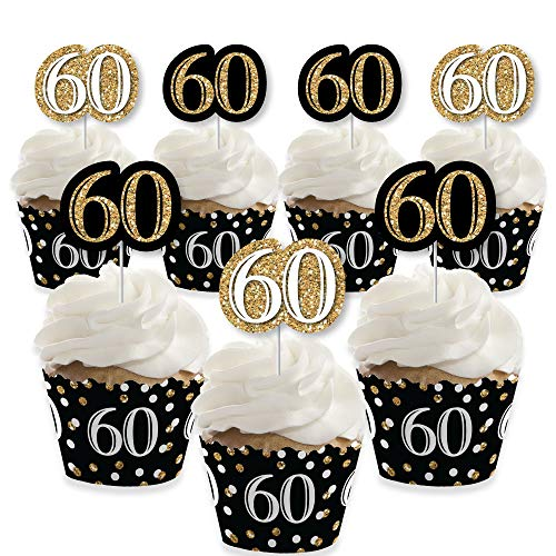 Adult 60th Birthday - Gold - Cupcake Decoration - Birthday Party Cupcake Wrappers and Treat Picks Kit - Set of 24