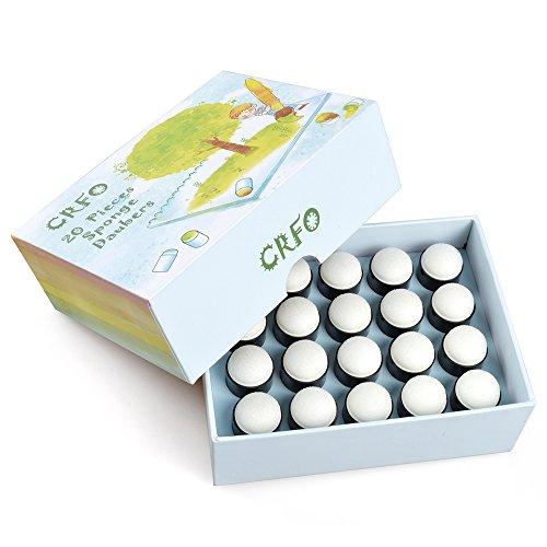 Elera - Tampones con esponjas para dedos - 40 tampones para pintar con los dedos - En caja cuadrada transparente