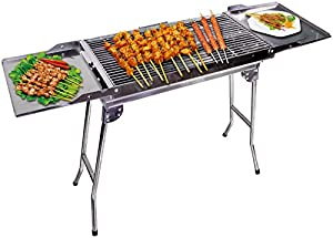 """Outdoor4less Stainless Steel Portable Travel Folding Tall Barbecue BBQ Charcoal Grill with Legs - Silver Chrome, Lightweight, Foldable - for Camping, Picnic, Outdoor - 44"""" x 12'' x 28"""""""