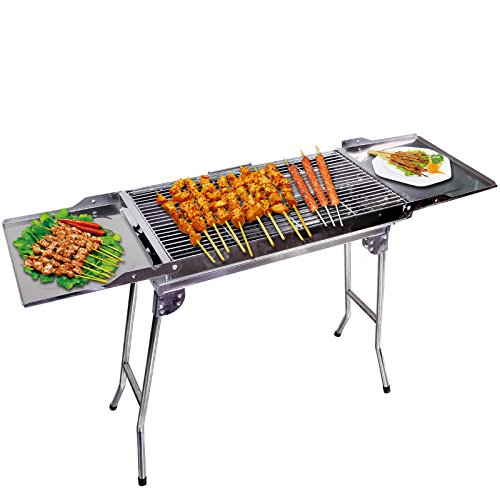 ColourTree Stainless Steel Portable Travel Folding Tall Barbecue BBQ Charcoal Grill with Legs - Silver Chrome, Lightweight, Foldable - For Camping, Picnic, Outdoor - 44' x 12'' x 28'