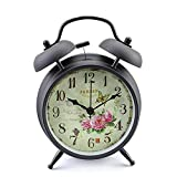 Konigswerk Twin Bell Alarm Clock , 4 inch Silent Analog Table Desk Small Clock with Night Light, Battery Operated, for Living Room Bedroom Kitchen Home Office ( Black Case - Roses)