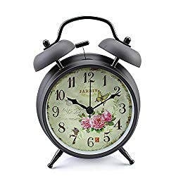 Konigswerk Twin Bell Loud Alarm Clock for Kids , Analog Non-Ticking Battery Operated Desk Clock for Living Room Bedroom Kitchen Home Office ( 4'' Black Case - Roses)