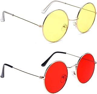 iFlash round sunglasses stylish unisex RED YELLOW lens.frame Metal UV Protected Round Shape Sunglasses free size