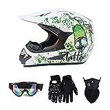 Myleisure Motocross Helmet, DOT Certified Off-Road Helmet for Men Women Adults, ATV Dirt-Bike Motorcycle Powersports Full Face Helmet, All Season Universal, 4 Pcs Set,White,XL