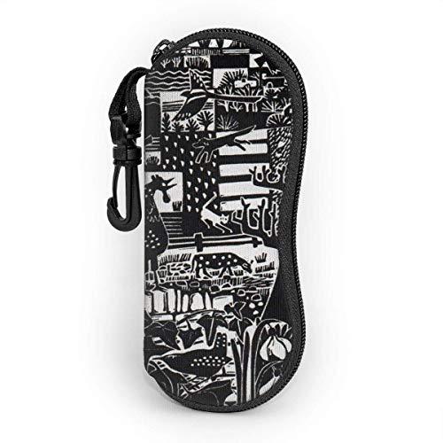 AOOEDM zeitgenössische Linolschnitt-Drucke für die Druckherstellung Sonnenbrillenetui Ultraleichtes tragbares Reise-Reißverschluss-Brillenetui Weiche Brille Schutzhülle mit Karabinerhaken
