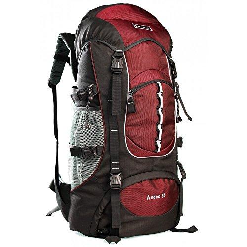 SNOWBALL - Sac à Dos Montage 70 CM - Sac à Dos de randonnée Sac Camping, Scout, Voyage, Sac étanche avec Housse Andes 55L - Rouge