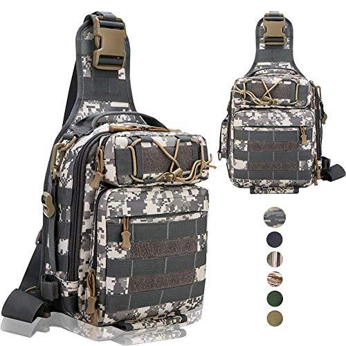 NetherFish Tackle Storage Bag Outdoor Cross Body Sling Bag for Fresh or Salt Water Lightweight Single Shoulder Pack (ACU)