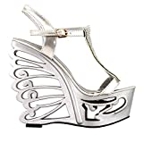 SHOW STORY Silver T Strap Bride Wedding Wedge Butterfly Heel Sandals Shoes,LF51803SV40,8US,Silver