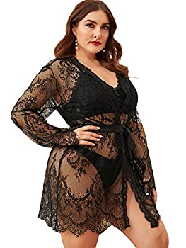 Floerns Women s Plus Size Sexy Lace Sheer Sleepwear Robe with Belted Black 3XL