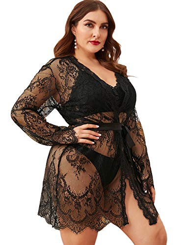 Floerns Women's Plus Size Sexy Lace Sheer Sleepwear Robe with Belted Black 3XL