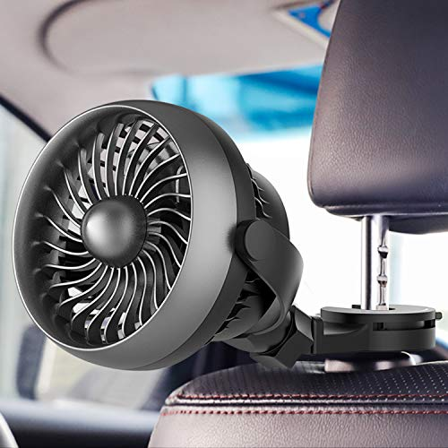 Car Fan, Battery Operated USB Car Fan with Durable Hook, 4 Speed Strong Airflow,360 Degree Rotatable Car Fan, 5V Cooling Air Small Personal Fan for Car, Rear&Back Seat Passenger Baby Kids etc(Black)