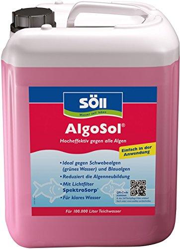 Söll 10345 AlgoSol Teichpflege gegen Algen im Teich 5 l - hocheffektives Teichpflegemittel Algenmittel mit Lichtfilter gegen Teichalgen Schwebealgen Blaualgen