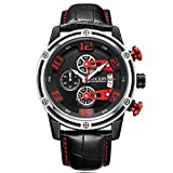 Relojes para Hombre Black and White, Reloj Rojo Grandes Esfera, Relojes Deportivo Cuero Negro con Calendario Reloj de Pulsera de Cuarzo para Hombres, Resistente al Agua, Luminoso