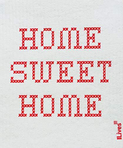 NineLives Spültuch Home Sweet Home 2er-Set -   Tücher für Geschirr, Küche, Bad   Beige Topflappen   Schwammtuch, Putzlappen