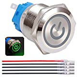 Twidec / 19mm Mounting Hole Latching Push Button Switch 1NO 1NC SPDT ON/OFF Silver Waterproof Stainless Steel Shell with 12V Green Power Symbol LED Lamp Ring for car modification Switch L-19-Power-T-G