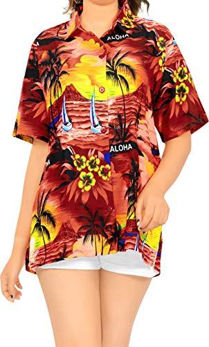 LA LEELA Women's Golf Hawaiian Blouse Shirt Beach Camp Aloha Shirt XXL Red_W928