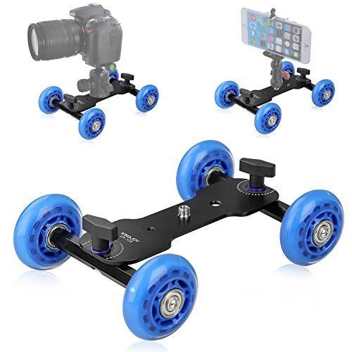 Slider Track Dolly Car- Desktop Mobile Rolling Video Rail Skater for DSLR Camera Camcorder Speedlite Gopro iPhone Cellphones Flash Lights Magic Arm