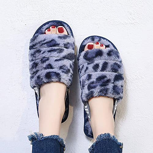 Kirin-1 Pantuflas Mujer Invierno,Zapatillas de Peluche-Gris Azul_40-41