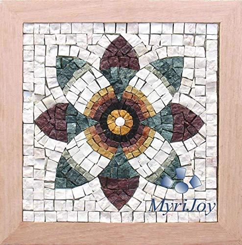 Mosaico Fiore di Melograno - Kit arte mosaico fai da te - 23x23 cm - Tessere mosaico marmo - Idea regalo originale - Mosaico Romano fatto a mano da me