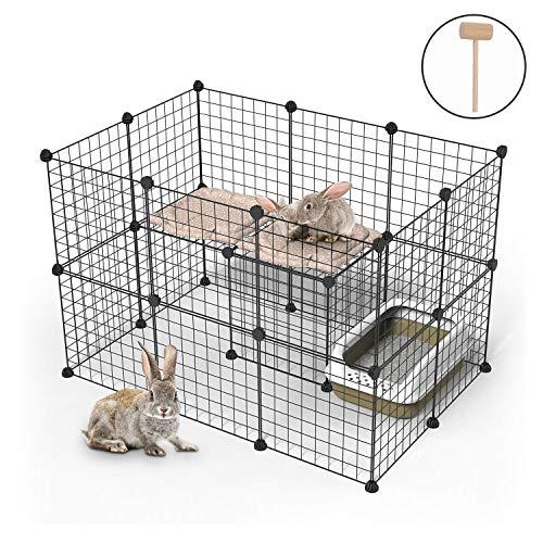 YOUKE Box per Coniglietti, Animali Domestici Recinto di Filo Metallico Portatile, Antiruggine per Animali Piccoli e Medi - Anche per Cagnolini e Cuccioli (24 Pannelli)