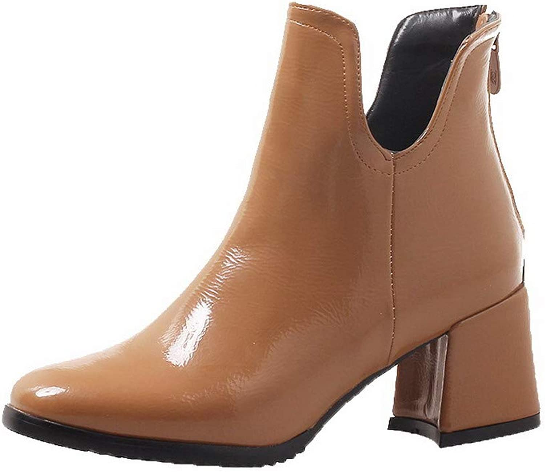 WeiPoot Women's Patent Leather Zipper Closed-Toe Kitten-Heels Low-Top Boots, EGHXH115183