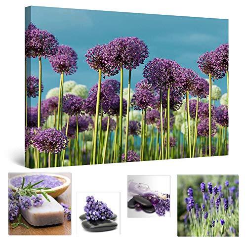 Eco Light Wall Art Bundle sur Toile Wonderful Daydream Violet Field 80 x 120 cm pour décoration intérieure et Jolie Chambre à Coucher Lavande Collage Lot de 4 encadrée Illustrations.