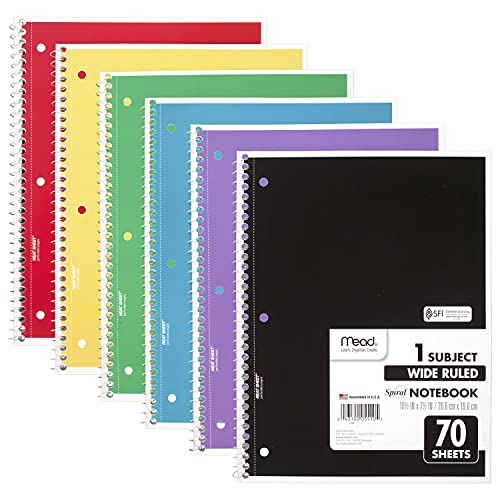 Mead Spiral Notebooks, 1 Subject, Wide Ruled Paper, 70 Sheets, Colored Note Books, Lined Paper, Home School Supplies for College Students & K-12, 10-1/2' x 7-1/2' Assorted Colors, 6 Pack (73063)