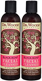 Dr. Woods Black Soap Liquid Facial Cleanser with Organic Shea Butter, 8 Ounce (Pack of 2)
