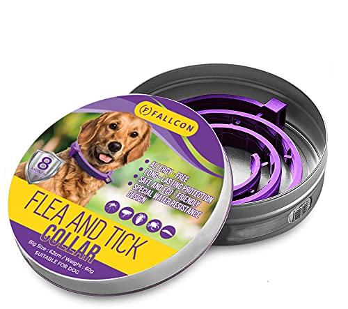 Collar Antiparasitos Perros Natural contra Pulgas,Garrapatas y Mosquitos,Tamaño Ajustable e Impermeable para Mascota Pequeño Mediano Grandes (Morado)