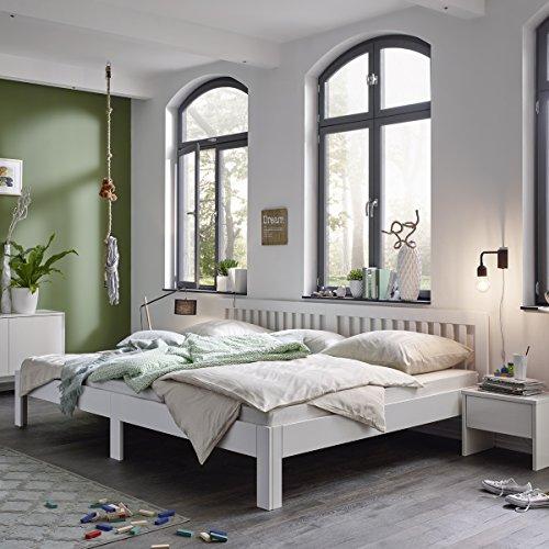 Ecolignum   Familienbett™ Como (#350270)   270×200 cm.   Co-Sleeping Massivholzbett Erle Vollholz   Weiß   Super-Size Bett