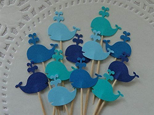 """Whale Cupcake Toppers - NEW Larger Size 1.5"""" - Food Picks - Party Picks - Baby Shower Appetizer Picks (Set of 24)"""