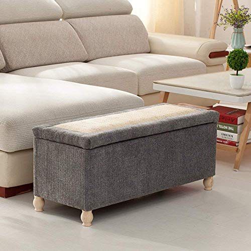 XBCDX Storage ottoman Bench,Linen Upholstered Footstool Sofa stool Storage box Rattan weaving lid Entrance shoe changing Bench-grey 47x16x17in