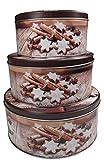 khevga Keksdose Weihnachten Blech Plätzchendose Set (flach, braun)