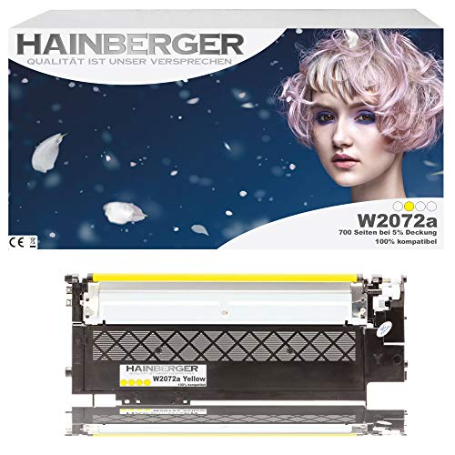 Hainberger Tóner amarillo con chip, sustituye a HP W2072A, 117A para impresoras Color Laser 150, 150A, 150NW, I MFP 178, 178NW, 178NWG, 179, 179FNG, 179FNW, 179FWG, 179FWG, color amarillo