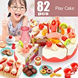 Birthday Cake Toy, Pretend Cake Play Set with Candles, Dishes, Donut Toys, Play Food for Princess...