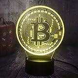 Lámpara de ilusión 3D, Bitcoin Night Light 3D Led USB RGB, Lámpara de escritorio de mesa Decoración para el hogar Pantalla de regalo de Navidad, Bombilla Boy Toys Regalo de cumpleaños