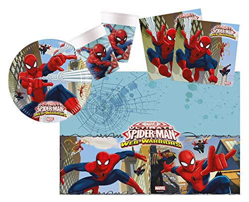 Procos 10108558B – Kinderpartyset S Ultimate Spiderman, 37-teiliges Set, 8 Teller, 8 Becher, 20 Servietten, 1 Tischdecke, Marvel, Web Warriors, Einweggeschirr, Dekoration