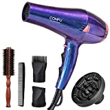 CONFU 2200W Professional Hair Dryer, Compact Blow dryer, Negative ionic Hair Dryer With Diffuser And Concentrator, For Quick Drying, ETL Certified, Purple