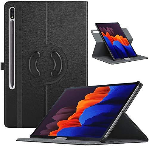 TiMOVO Funda Compatible con Samsung Galaxy Tab S7 Plus 12.4 Inch Tablet (SM-T970/T975/T976), Cubierta Protectora de PU Cuero Soporte Giratorio de 90 Grados, Negro