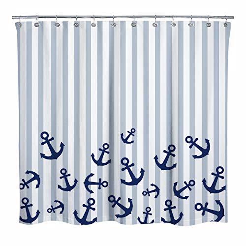 Sunlit Duschvorhang mit maritimem Design, marineblauer Schiffsanker, hellblaue Streifen, Duschvorhang, moderner Stil, Badezimmer-Dekoration