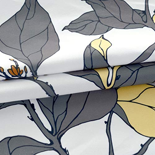 DriftAway Ryan Sketch Flower Floral Branch Leaves Lined Thermal Insulated Window Curtain Valance Rod Pocket 52 Inch by 18 Inch Plus 2 Inch Header Yellow Gray 1 Pack