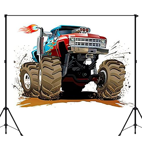 BEEQY Cartoon Photography Backdrop, Monster Truck Car Cool Offroad 4X4 Hot Muscle Race Extreme Fire Vinyl Photo Background Photography Booth Props Wall Decoration, 6 x 8FT