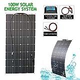 LAMP-XUE Los Paneles Panel Solar 100W 200W 300W Kit de Inicio Sistema Completo de la Rejilla Solar Set para Cargar la batería de Coche de RV,100w