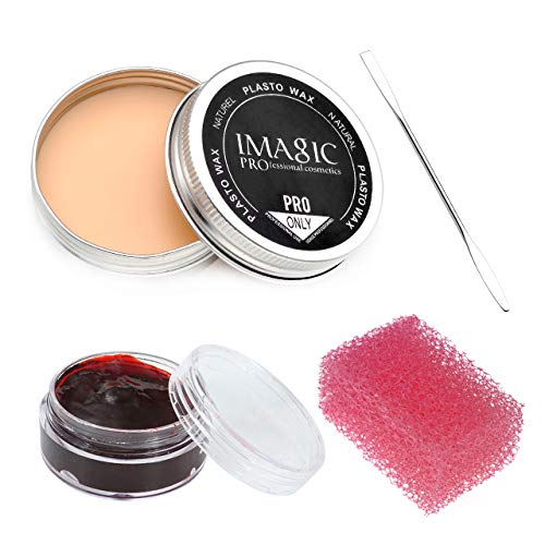 Wismee Halloween Party Stage Special Effects Makeup Wax Kit, Fake Wound Moudling Scar Wax Nude Color Putty #2 (1.16 Oz), Scab Blood Gel(0.63Oz), Stipple Sponge, Spatula Tool