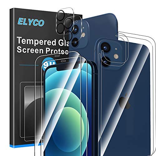 ELYCO Kompatibel mit iPhone 12 Mini 5,4 Zoll [6 Stück] Schutzfolie + Rückseite Panzerglas + Kamera Panzerglas, 9H Härte Panzerglasfolie Anti-Kratzer Displayschutzfolie Kompatibel mit iPhone 12 Mini