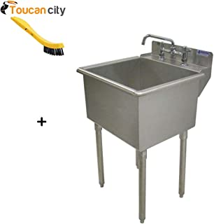 Toucan City Tile and Grout Brush and Griffin Products LT-Series 24x24 Stainless Steel Freestanding 2-Hole Laundry Sink LT-118