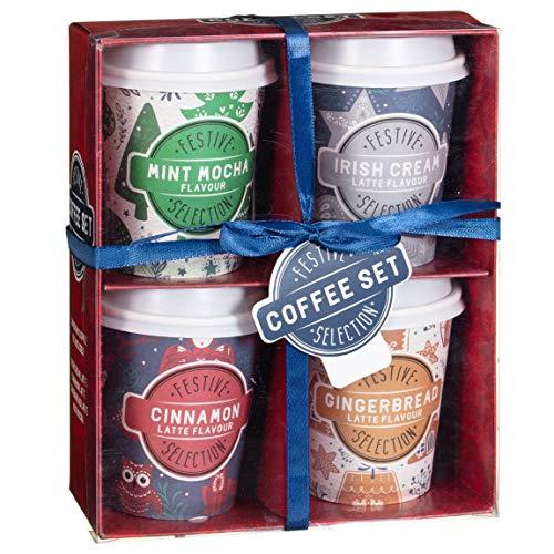 Kaffeekorb – 4 Geschmacksrichtungen – Lebkuchen-Latte – Irish Cream Latte – Zimt Latte – Minze Mokka – Reisebecher zum Mitnehmen – Weihnachtskaffee