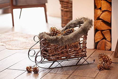 Deko-Schlitten aus Metall & Rattan, mit Kunst Fell, 45 cm lang, Weihnachtsdeko, Adventsdekoration