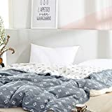 SHSYCER 3 Layer Cozy Lightweight Muslin Cotton Blanket for Bed, Couch & Sofa, Summer Bedding Coverlet with Pattern,Blue,F/Q 78''x90''