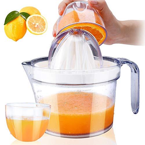 Citrus Juicer, Sunhanny Orange Lemon Manual Hand Squeezer, Anti-Slip Lid Rotation Reamer Lime Press, 17-Ounce Capacity, Clear
